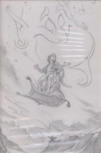 Original concept graphite for Aladdin