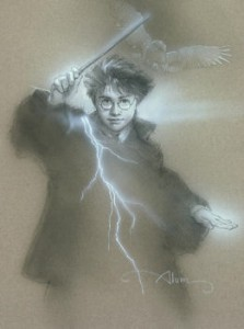 Original concept graphite  Harry Potter and Hedwig