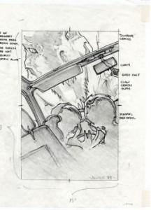 Jurassic Park graphite concept art in car