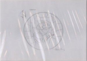 Rose stained glass window concept graphite