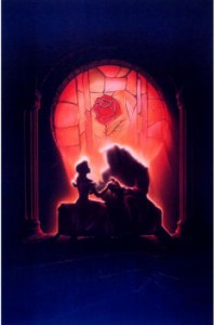 Beauty and the Beast stained glass window art