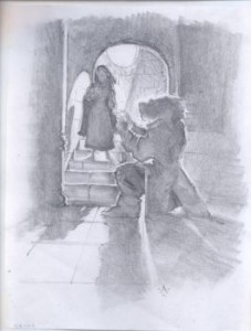 Original concept graphite for Beauty and the Beast