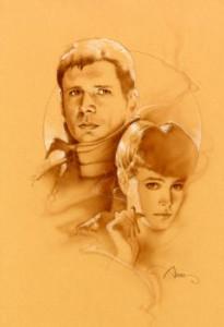 Sepia original mixed media Blade Runner