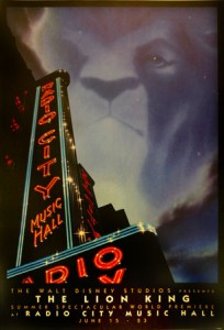 Lion King at Radio City poster
