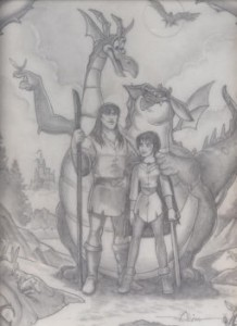 Quest for Camelot graphite concept art