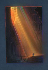 An original concept John created when working on the campaign for Hunchback. There are some beautifully colored images that capture some of the light of the inside of Notre Dame, (and i lived in Paris!)