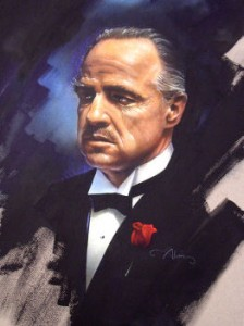 A great image and a great study of Marlon Brando as the don. Lots of our favorite movie.
