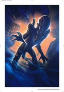 Lithograph, limited edition of 350. This is an interesting image, because originally RIdley didn't want the alien shown, but for the rerelease the film company wanted to capture a nighmarish quality the alien coming at you would create. so they used this image, which was also turned into a limited edition lithograph, which you can still buy. (if you can talk your sigoth into it)