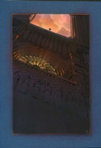 this is one of the images John did of the front of Notre Dame, some have Q, some have gargoyles etc.