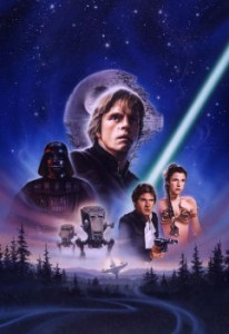 This is the original art used to create the video cover for the international release of the THX digitally mastered Star Wars trilogy