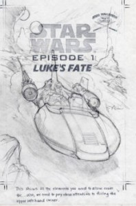 Concept drawing for the cover of 'Anakin's Fate' which is titled here as 'Luke's Fate'