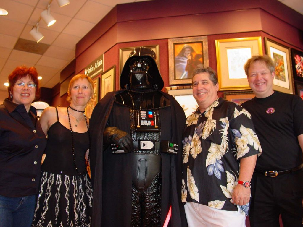 John Alvin, Andrea Alvin, Leslie Combemale, Michael Barry, and Darth Vader